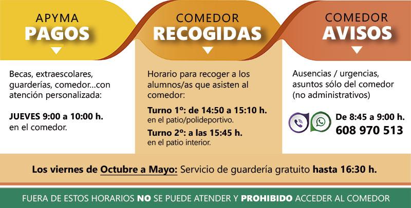 Horarios Apyma y comedor curso 2018-19