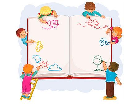 Niños y niñas pintando