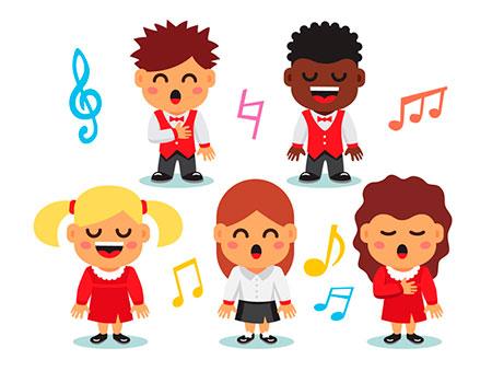 Niños y niñas cantando