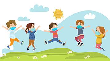 Niños saltando felices